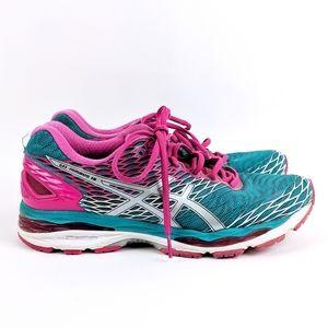 ASICS | Gel-Nimbus 18 Pink Teal Running Shoe